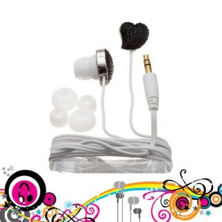 Nemo Digital Black/ White Crystal Pave Twisted Heart Earbud Headphones