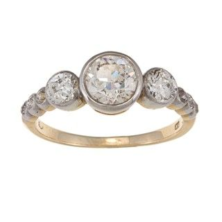 18k Yellow Gold and Platinum 1 1/2ct TDW Diamond Estate Cluster Ring