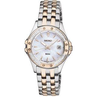 Seiko Womens Dress Moer Of Pearl Dial Gold Diamond Watch