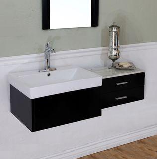 Single Sink Black Wood 45.8 inch Vanity