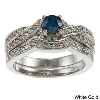 14k Gold 3/4ct TDW Blue and White Diamond Bridal Ring Set