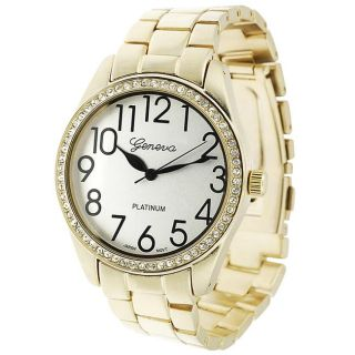 Geneva Platinum Womens Rhinestone accented Large Face Link Watch