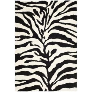 Hand woven Ultimate Ivory/ Black Shag Rug (33 x 53)