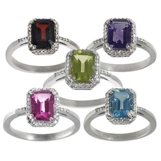 Tressa Sterling Silver Gemstone and Diamond Accent Ring