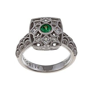 Tacori IV Silver Simulated Emerald and Cubic Zirconia Lace Ring