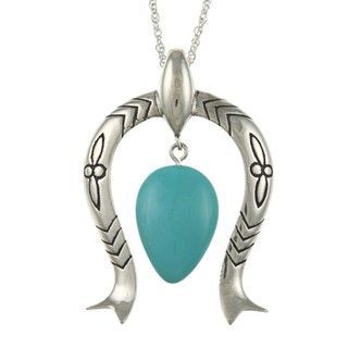 Southwest Moon Sterling Silver Turquoise Squash Blossom Necklace