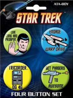 Star Trek Cartoon Quote Four Button Set: Clothing