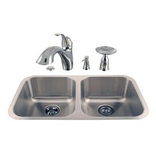 Undermount Double Stainless Steel Sink and Faucet Combo Kit