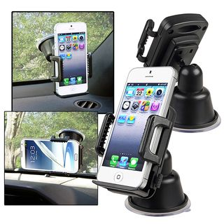 BasAcc Black Universal Suction Car Mount Phone Holder