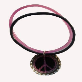 Bow Clippeez 2 Envy Peace Sign Bottle Cap Charm Bracelet