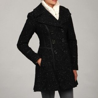 Jessica Simpson Womens Black Tweed Double breasted Coat