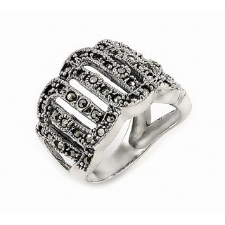 Sterling Silver Marcasite Cut out Design Wide Ring