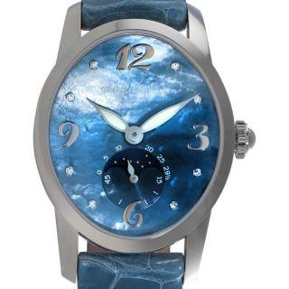 Girard Perregaux Womens Cats Eye White Gold Leather Diamond Watch