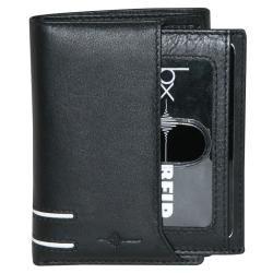 Buxton Mens Black Luciano ID Tri fold Wallet