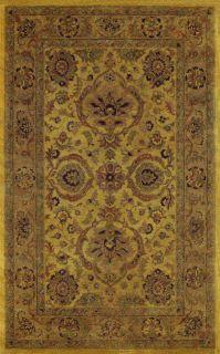Hand tufted Heirloom Gold Oriental Wool Rug (86 x 116)