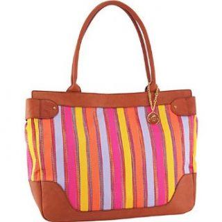 Koret Handbags Leather Trimmed Stripe Large EW Tote