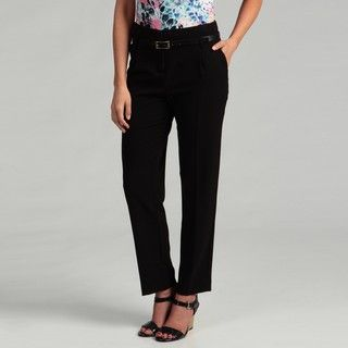 Calvin Klein Womens Black Belted Trousers