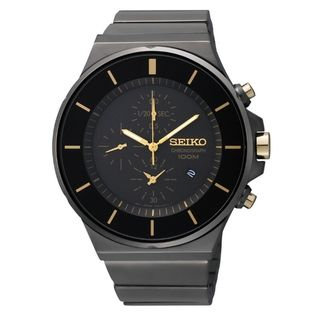 Seiko Mens Chronograph Black Ion Gold Accent Watch