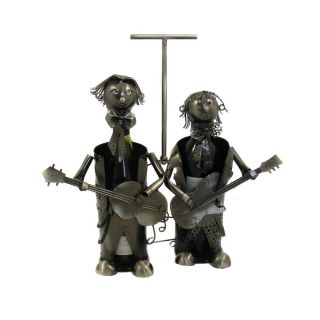 Art Deco Guitar Players Double Caddy Wine Bottle Holder