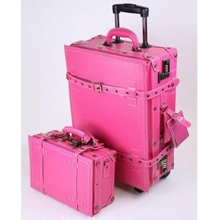 La Vida Pink Vintage look 2 piece Carry On Luggage Set