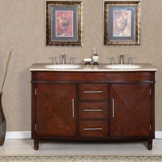 Silkroad Exclusive Travertine Top 55 inch Double Sink Vanity Cabinet