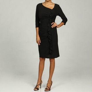 Annalee & Hope Womens Black Cascade Ruffle Jersey Dress