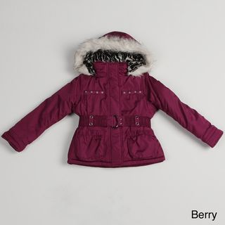 London Fog Girls Faux Fur Trim Hood Coat