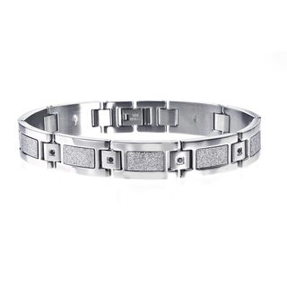 Stainless Steel Mens Black Diamond Accent Bracelet