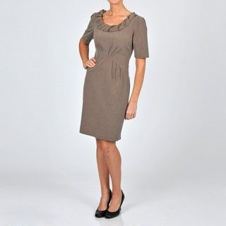 Robbie Bee Womens Novelty Neckline Career Dress