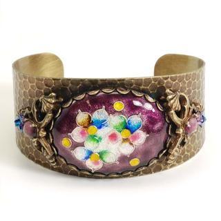 Sweet Romance Purple Vintage Glass Cuff Bracelet