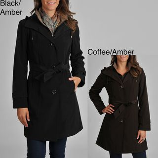 London Fog Womens Belted Trench with Removable Hood