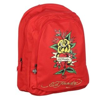 Ed Hardy Josh Red Flower Heart 17 inch Backpack