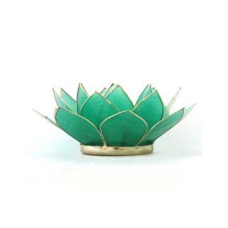 Capiz Shell Gemstone Emerald Lotus Tea Light (Philippines)