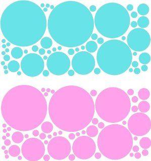Baby blue and Bubblegum pink polka dots (108pcs) wall
