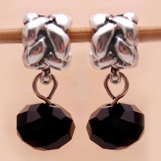 Bleek2Sheek Silverplated Black Crystal Dangle Charm Beads (Set of 2