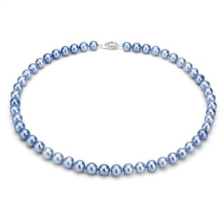 DaVonna Sterling Silver 7 7.5mm Blue Freshwater Pearl Necklace (16 36