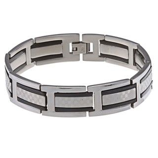 La Preciosa Stainless Steel Black Checkered Link Bracelet
