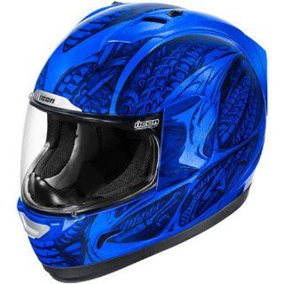 Icon Alliance Full Face Motorcycle Helmet Blue Speed Metal XXXL 3XL