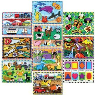 Melissa and Doug Chunky Wood Puzzles   Set of 10 Office