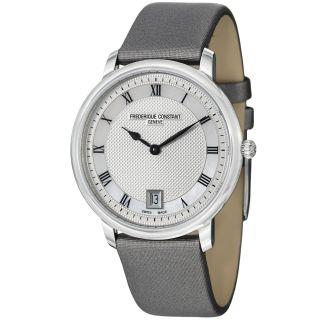 Frederique Constant Unisex Slim Line Grey Satin Strap Quartz Watch