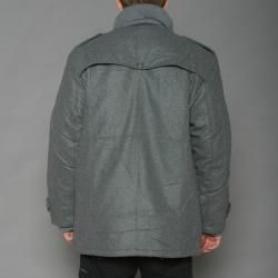 Trust Mens Heather Grey Wool blend Double breasted Peacoat