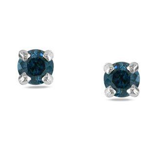 Miadora 14k White Gold 1/5ct TDW Blue Diamond Stud Earrings