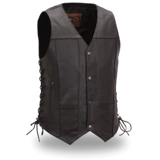 First Classics Mens Black Leather 10 pocket Motorcycle Vest