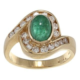 18k Yellow Gold Emerald and 5/8ct TDW Diamond Estate Ring (G H, SI1