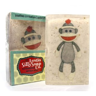 Pack of 3 Goatsmilk and Oatmeal Soap with Mustaches and Sock Monkeys