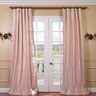 Light Pink/ Cream Stripe Faux Silk Taffeta 96 inch Curtain Panel