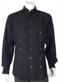 Dolce & Gabbana Mens Navy Striped Dress Shirt