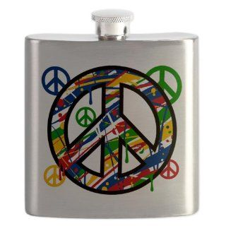Hip Flask Peace Symbol Sign Dripping Paint Everything