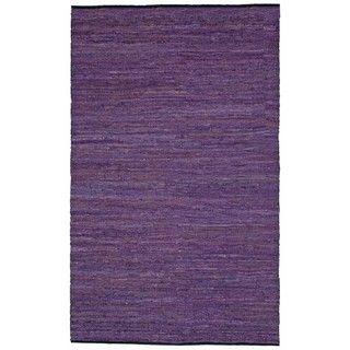 Hand woven Matador Purple Leather Rug (4 x 6)
