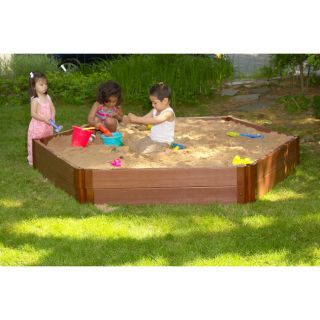 Frame It All Recycled Plastic Wood grain Weatherproof Hexagon Sandbox